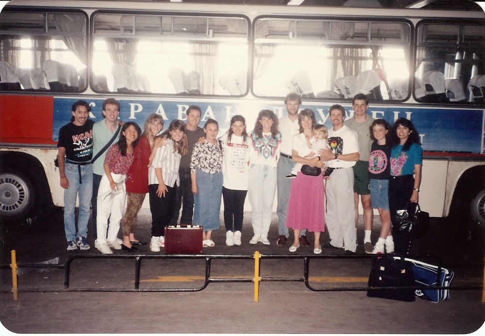 Kip's photo of the Moscow Mission Team on July 9, 1991 – the day they landed in Moscow! (Elena is pictured on the far right.)